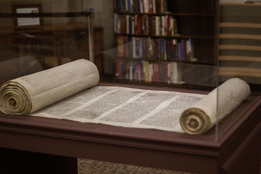 Scroll manuscript in a library